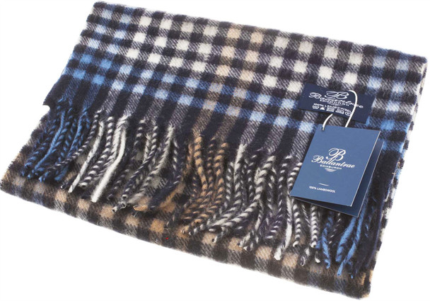 100% Lambswool Scarf Dark Grey Optical Check Scottish Gift Winter Scotland