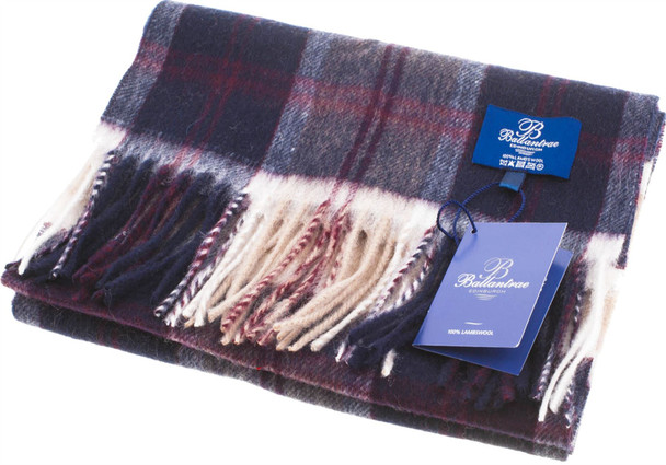 100% Lambswool Scarf Bannockbane Navy Scottish Gift Winter Scotland