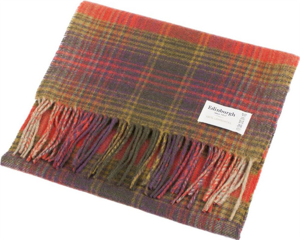 Unisex Lambswool Scarf In Graded Stripey Check Terracotta Design 30cm Wide
