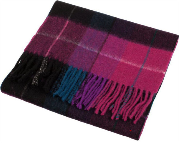 Unisex Lambswool Scarf In Mixed Check Magenta Black Design 30cm Wide