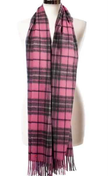 Cashmere Stole In Gresham-Pink-Derby Tartan Design 71cm Wide