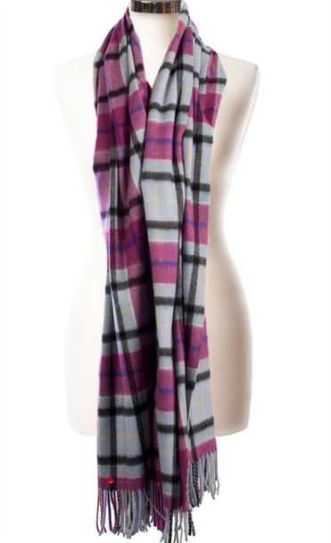 Cashmere Stole In Aston-Opal-Coulis Check Design 71cm Wide