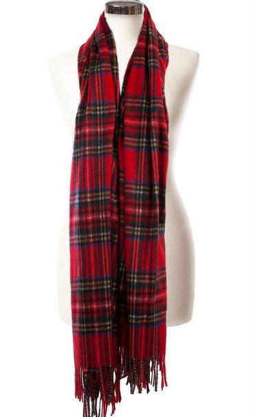Cashmere Stole In Stewart Royal Tartan Design 71cm Wide