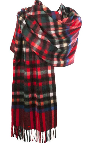 Cashmere Stole In Exploded Stewart Royal Tartan Design 71cm Wide