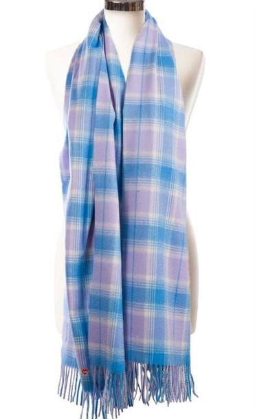 Cashmere Stole In Borwick-Lilac Blue Check Design 71cm Wide