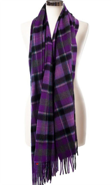 Cashmere Stole In Burce-Purple Grey Tartan Design 71 cm Wide