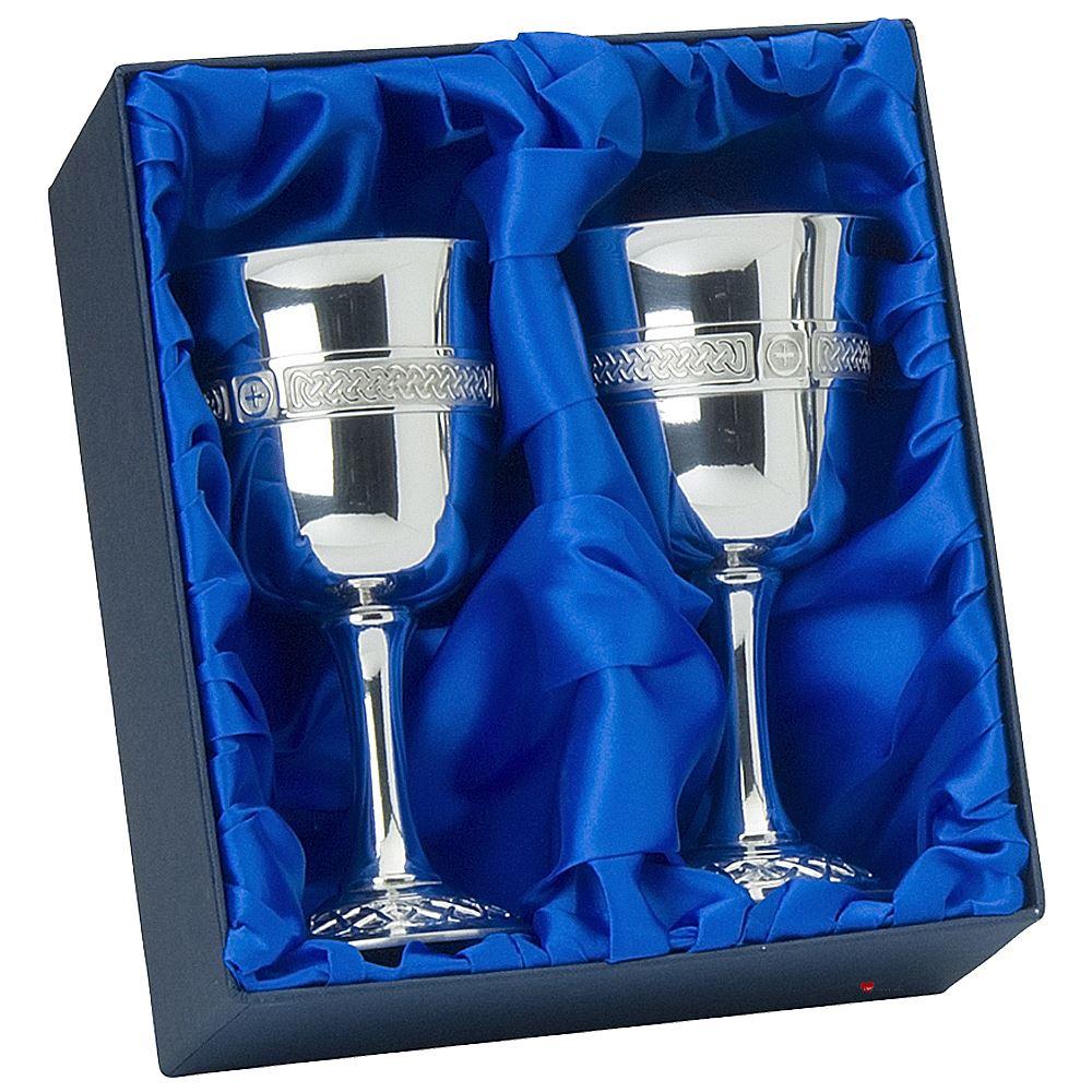 Stemmed Medieval Pewter Goblets Presentation Boxed Ideal Wedding Gift
