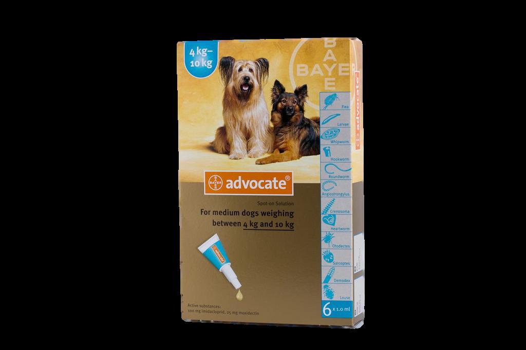Advocate för hundar 4,1-10 kg - Aqua 6 doser - Gammal förpackning Frambild