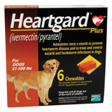 Heartgard Plus Chewables for Dogs 23-45 kg (51-100 lbs) - Brown 6 Chews (07/2022 Expiry)