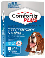 Comfortis PLUS Tablets for Dogs 18-27 kg (40.1-60 lbs) - Blue 6 Tablets