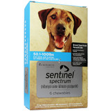 Sentinel Spectrum Chews for Dogs 22-45 kg (50.1-100 lbs) - Blue 6 Chews