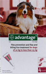 Advantage for Dogs 10.1-25 kg (21-55 lbs) - Red 4 Doses
