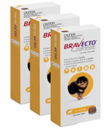 Bravecto Flea and Tick Chew for Dogs 2-4.5 kg (4.4-9.9 lbs) - Yellow 3 Chews