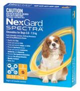 Nexgard Spectra Chews for Dogs 3.6-7.5 kg (8.1-16 lbs) - Yellow 3 Chews (Sep 30 2021 Expiry)