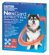 Nexgard Spectra Chews for Dogs 30.1-60 kg (66.1-132 lbs) - Red 3 Chews (11/2021 Expiry)