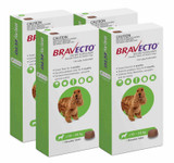 Bravecto Flea and Tick Chew for Dogs 10-20 kg (22-44 lbs) - Green 4 Chews