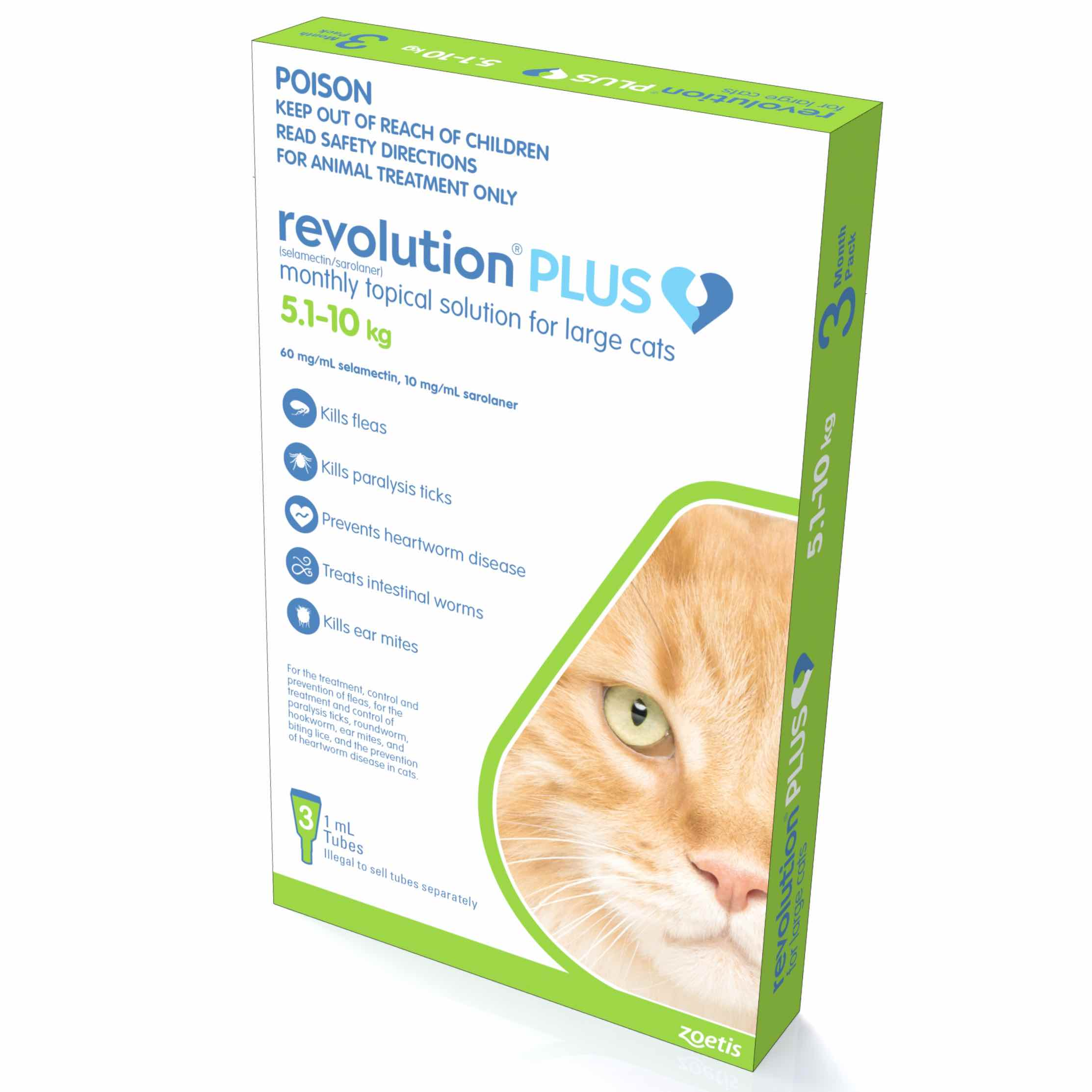 Revolution Plus For Large Cats 5 10 Kg 11 1 22 Lbs Green 3 Doses Atlantic Pet Products