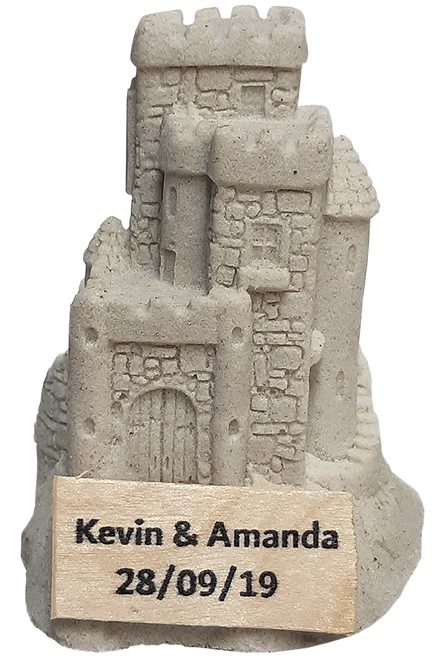 "3"" Handmade Sandcastle Figurine with Your Name"