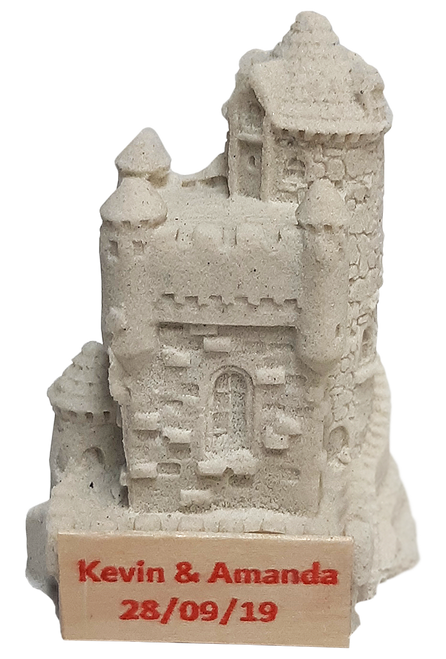 "3"" Handmade Sandcastle Figurine with Your Custom Text"