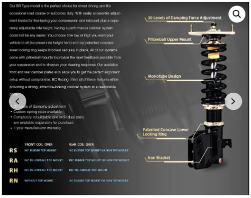 BC Racing Adjustable Coilover Kit BR-RH DC5
