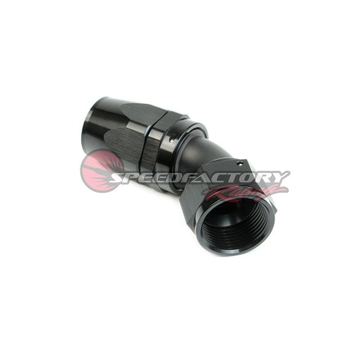 SpeedFactory Racing -16 AN Black Anodized Hose End Fitting - 45 Degree