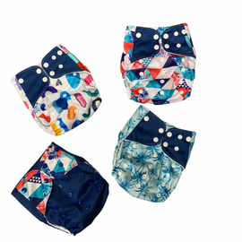 Blue Patterns - reusable cloth nappies, waterproof with suede cloth inner, 1 charcoal 100% bamboo insert included