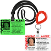 Medical Alert IDs with Slot to hang from Lanyard or Wrist Coil.