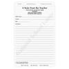 A Note From the Teacher - 3 part carbonless form (138) with optional Imprint