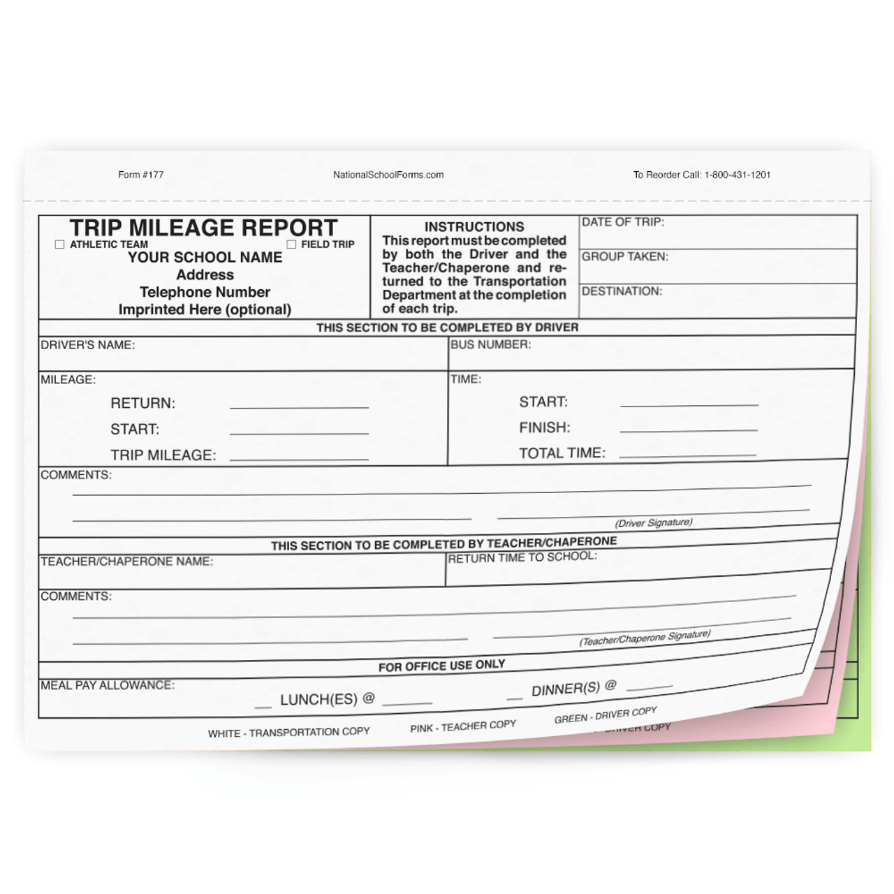 Trip Mileage Report (177) 3 part carbonless form with optional Imprint
