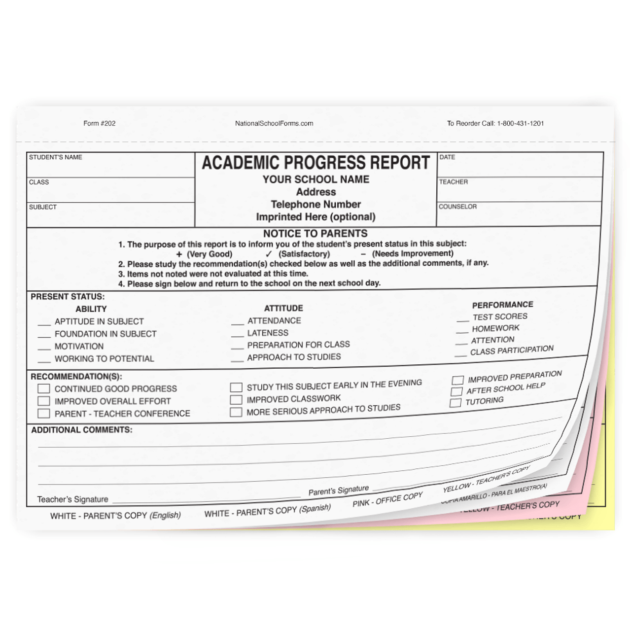Bilingual Academic Progress Report - English/Spanish (202)