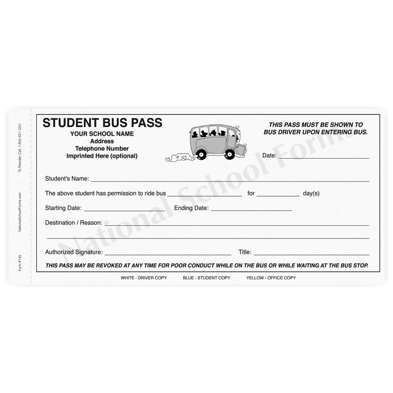 Student Bus Pass (143) - 3 part carbonless form with optional Imprint