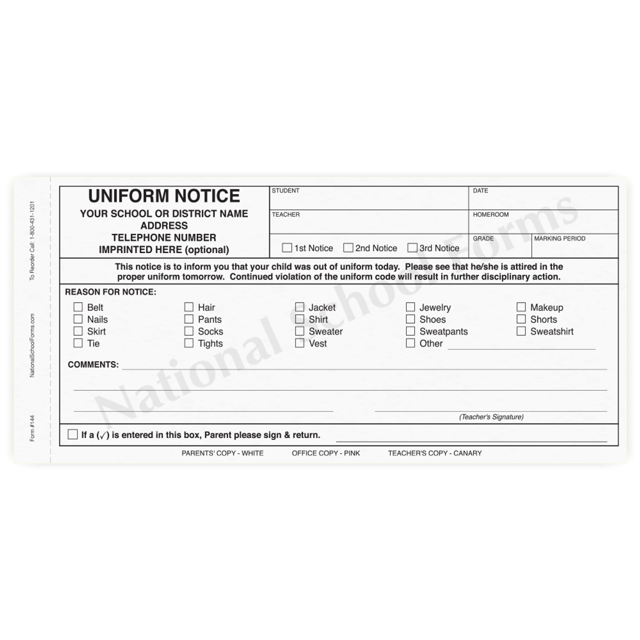 Uniform Notice (144) - 3 part carbonless form with optional Imprint