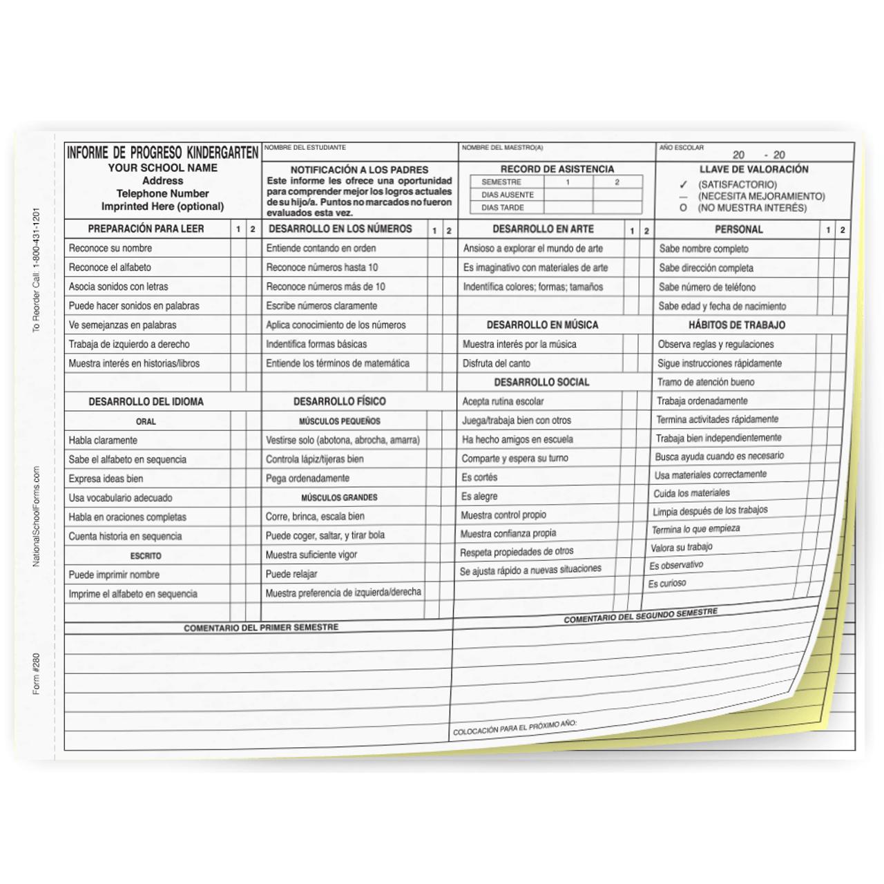 Informe de Progreso Kindergarten - Semestre (280) con la escuela impronta