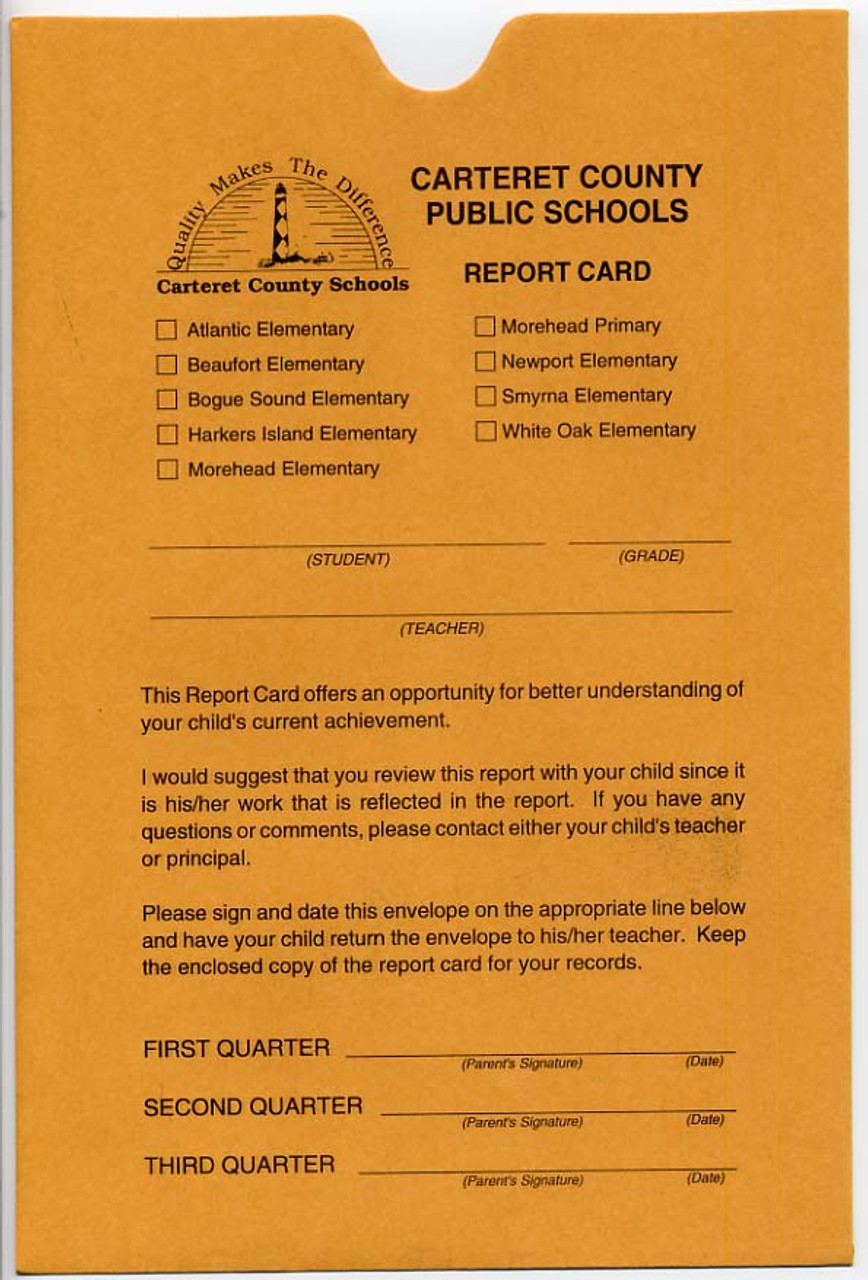 Report Card Envelope (131) example 1