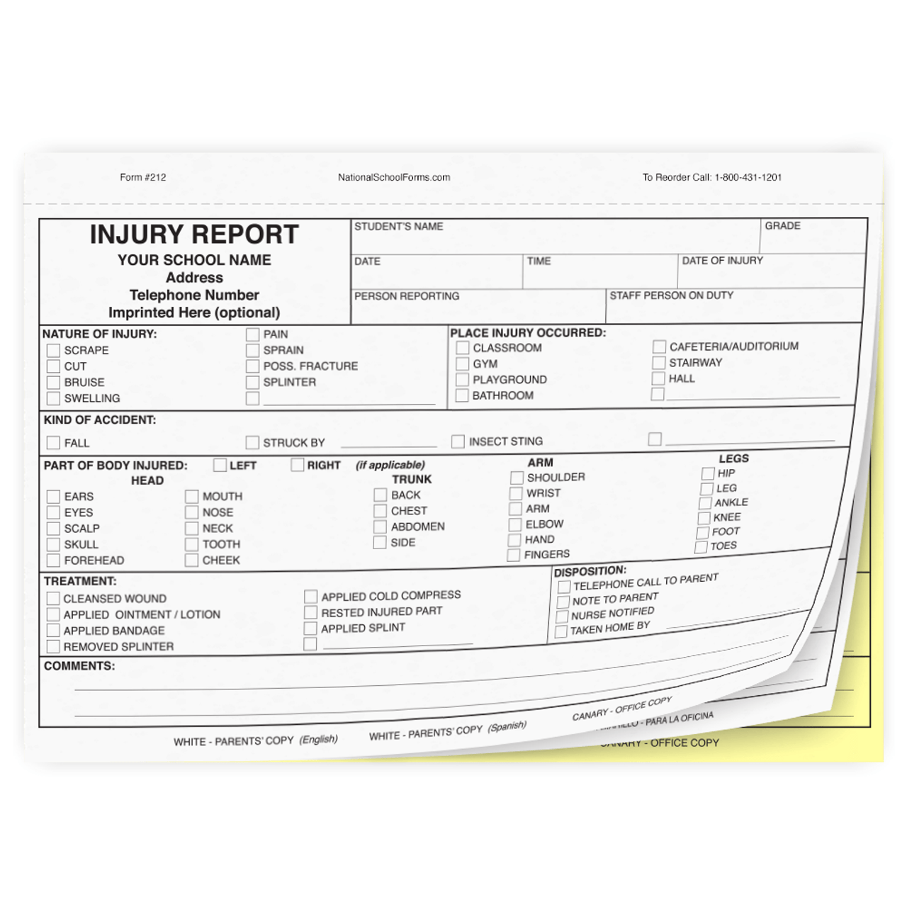 Bilingual Injury Report - 3 part carbonless form with English and Spanish parent copies (212)