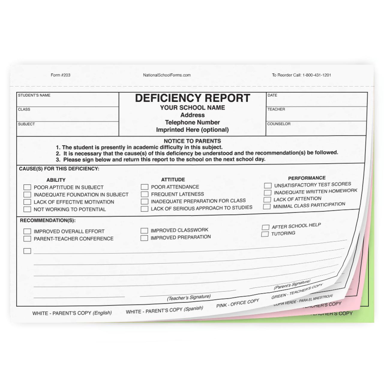 Bilingual Deficiency Report - English/Spanish (203)