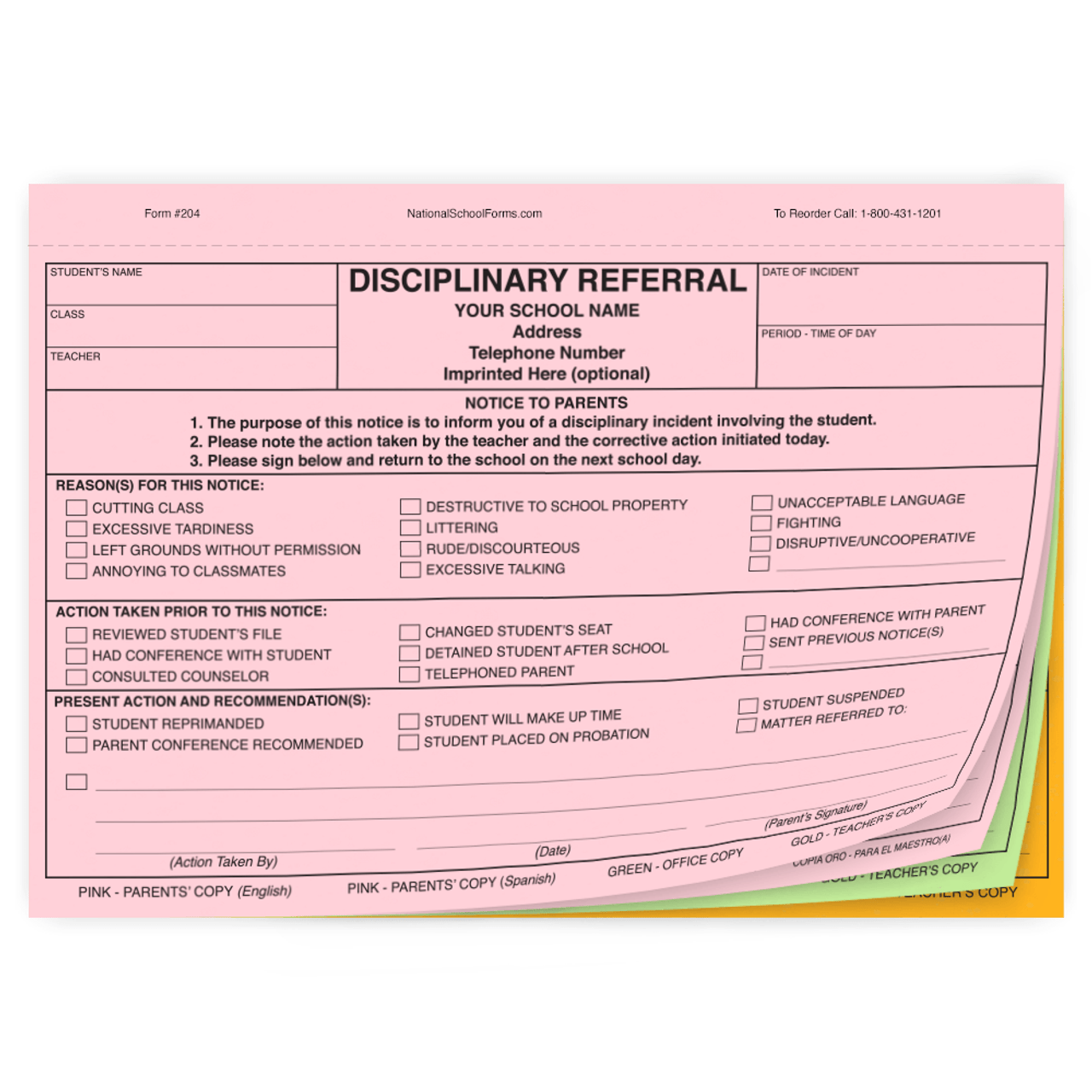 Bilingual Disciplinary Referral - 4 part form with English/Spanish Parent Copies (204)