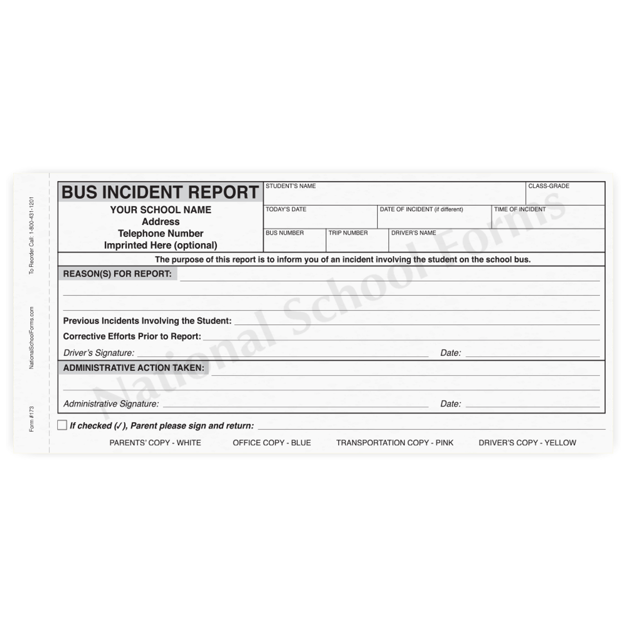 Bus Incident Report (173) - 4 part carbonless form with optional Imprint