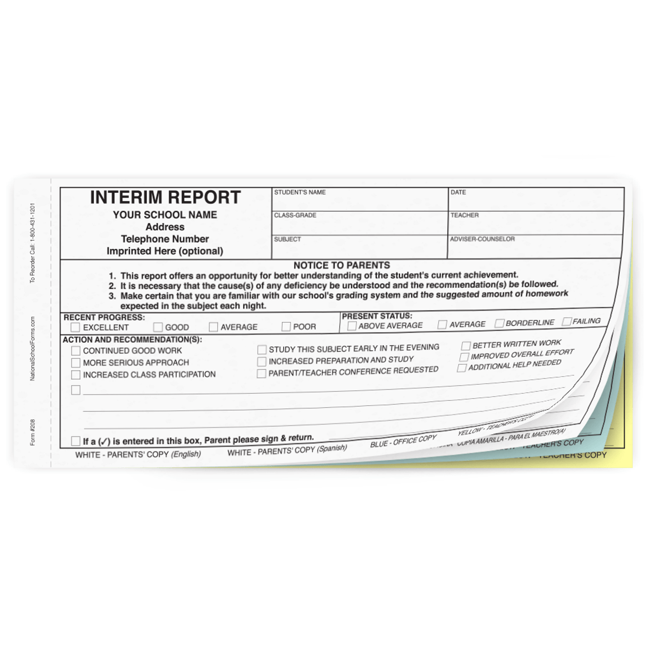 Bilingual Interim Report - 4 part carbonless form with English and Spanish parent copies (208)