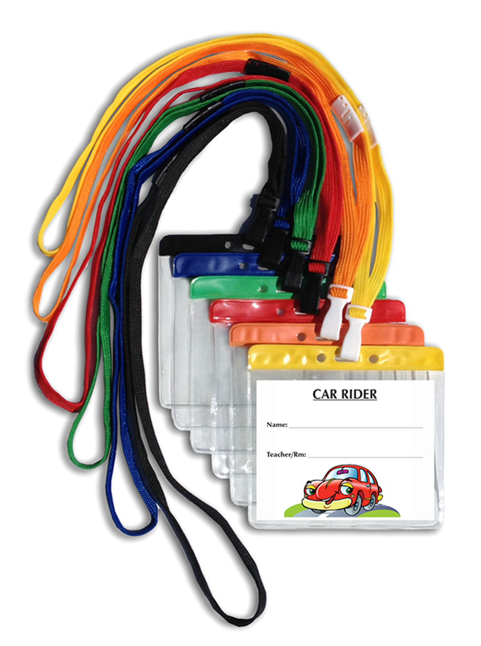 366 Standard Car Rider Tag ID with Pouch and Breakaway Lanyard