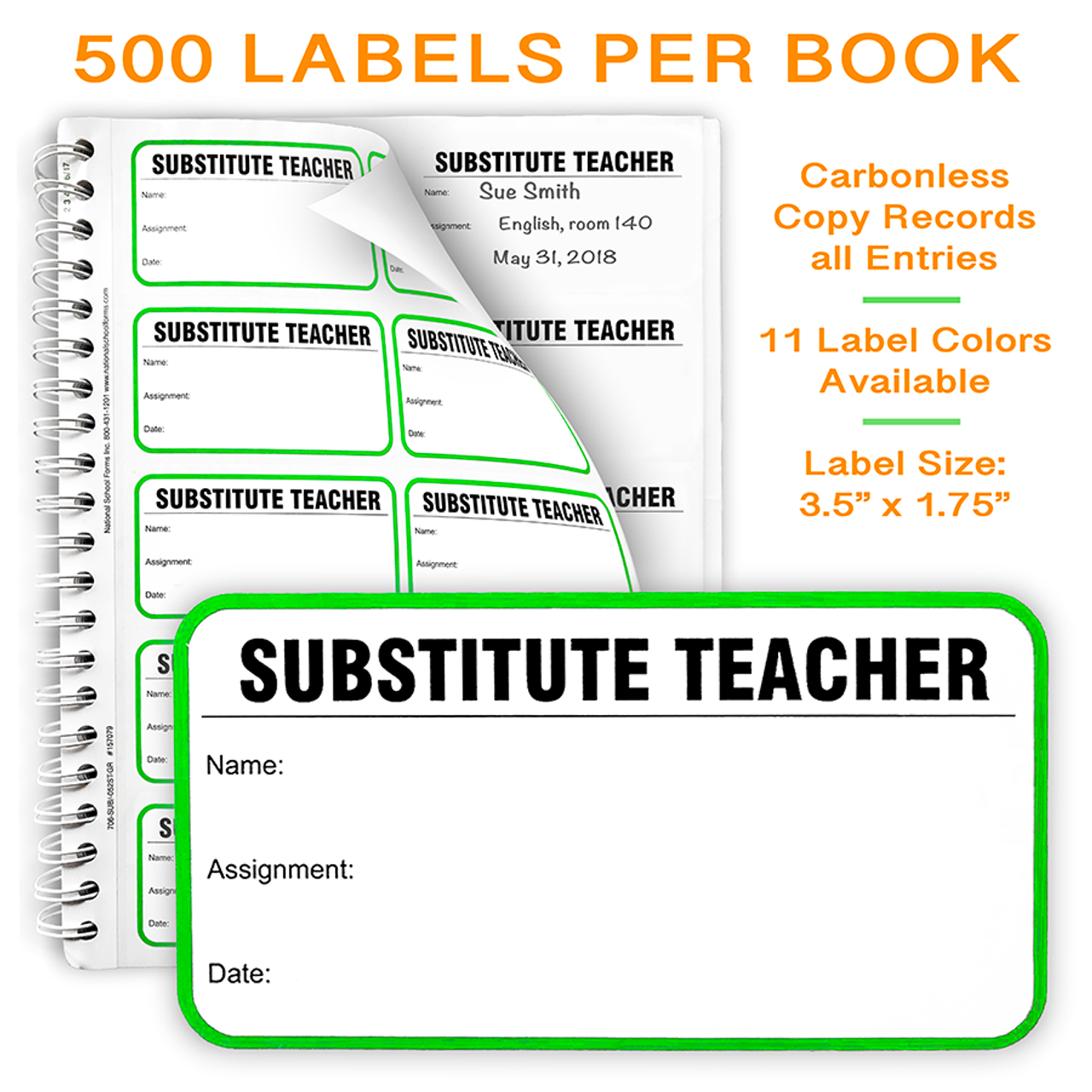 Substitute Teacher Label Book (500 Labels per Book)