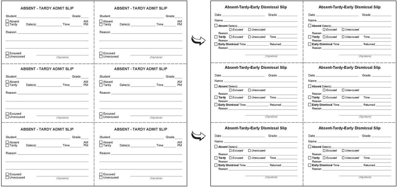 8½ x 8 Customized Slip Booklet 300 slips/book