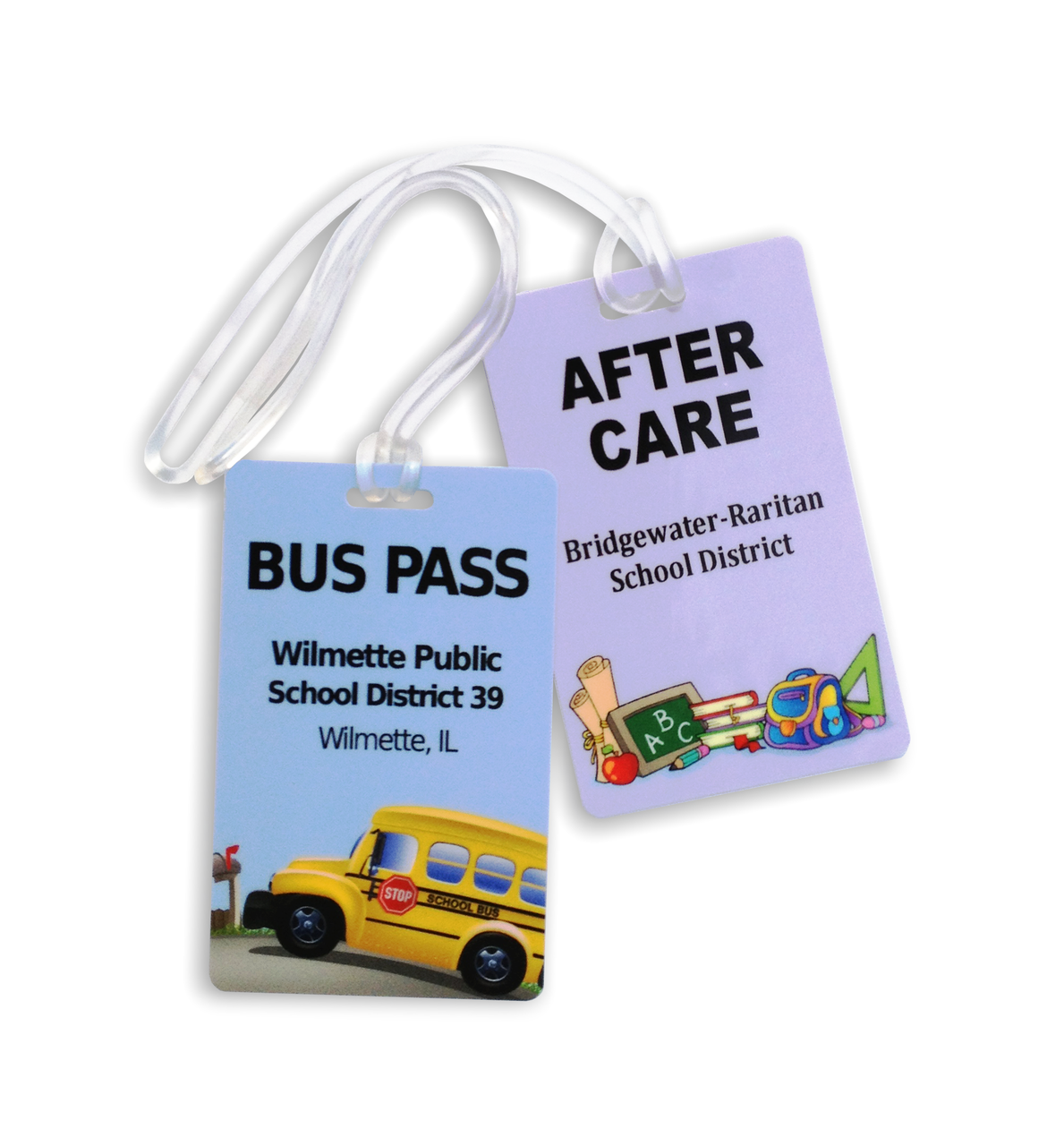Plastic Bus Tag, Routing Tags with Loop Attachment
