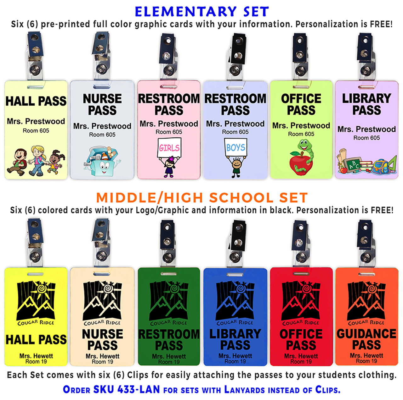 Hall Pass Set of 6 (Plastic Hall Pass Cards with Clips)