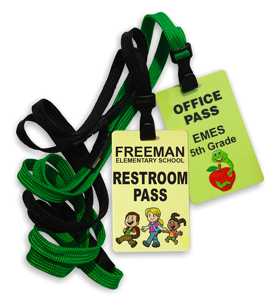 Customize your Hall Pass Cards to meet your needs! Order coordinating breakaway lanyards or use the included clothing clips.