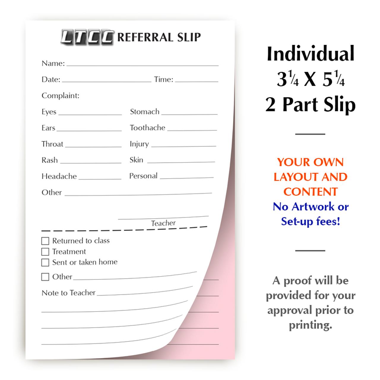 "Customized Slip - 3¼ x 5¼"" - 2 Part"