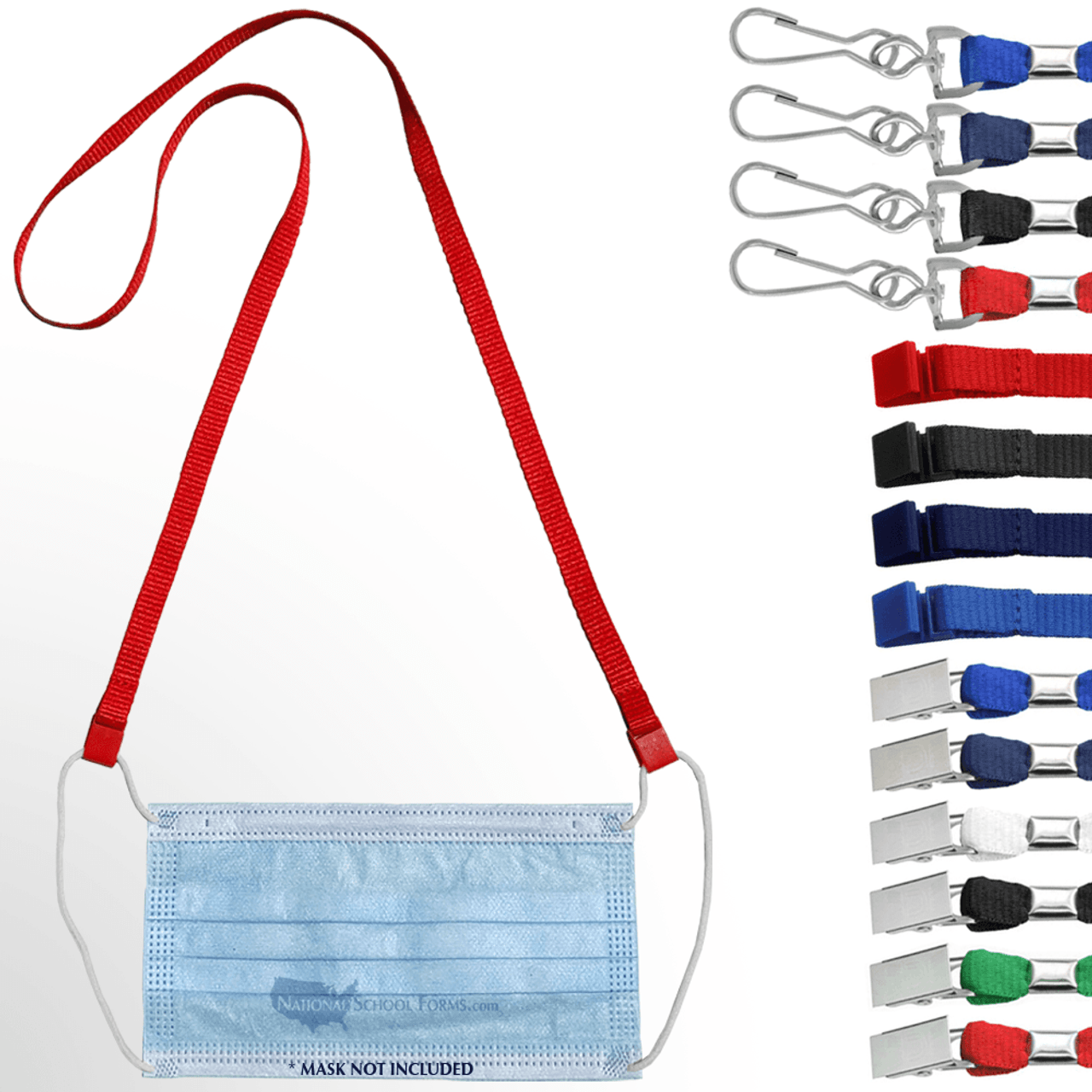 Open Ended Mask Lanyards with assortment of Lanyard fittings