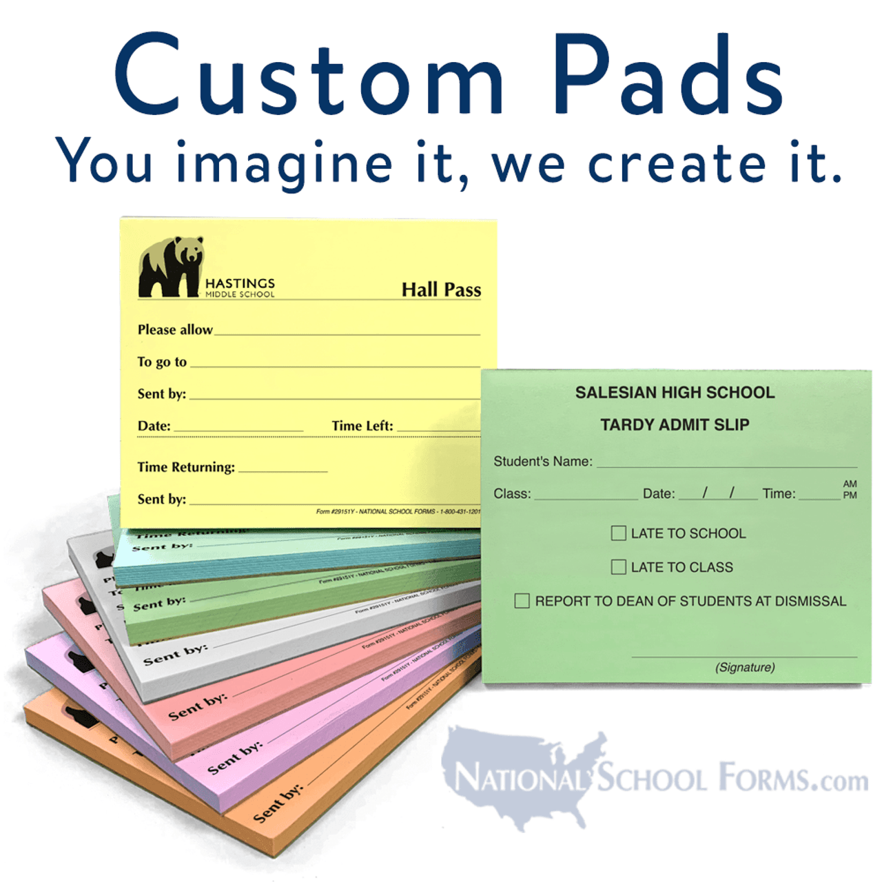 "Customized Pad - 4¼"" x 3½"" - 50 Sheets / Pad"
