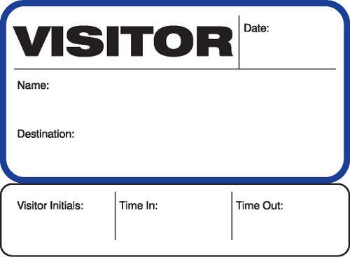 Visitor Pass Registry Book (242C-702) White Label with Blue Trim