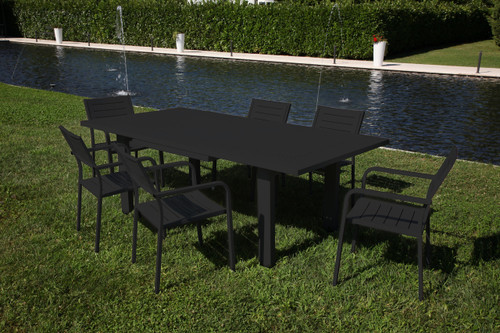 "HELIOS -  9 Piece Steel Extension-Table Patio Set 36""x63-87"""